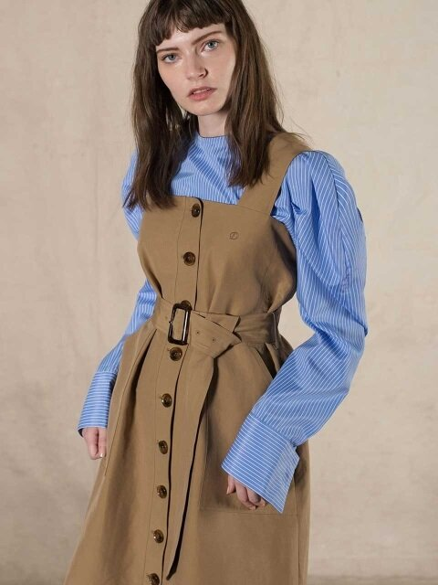SINGLE BUTTON TRENCH DRESS (beige)