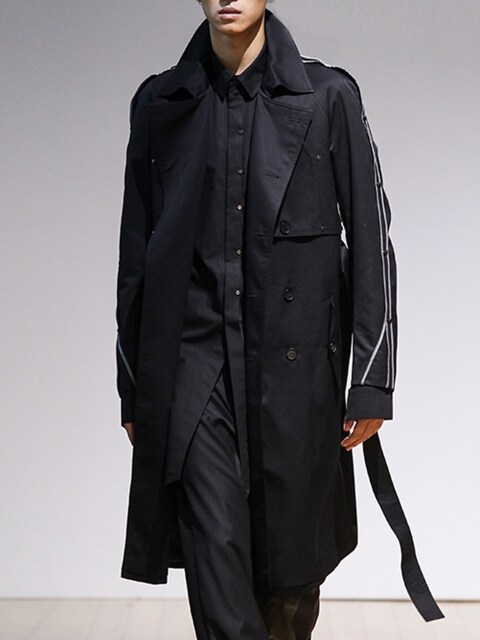 BLACK LONG ARM DETAILED TRENCH COAT