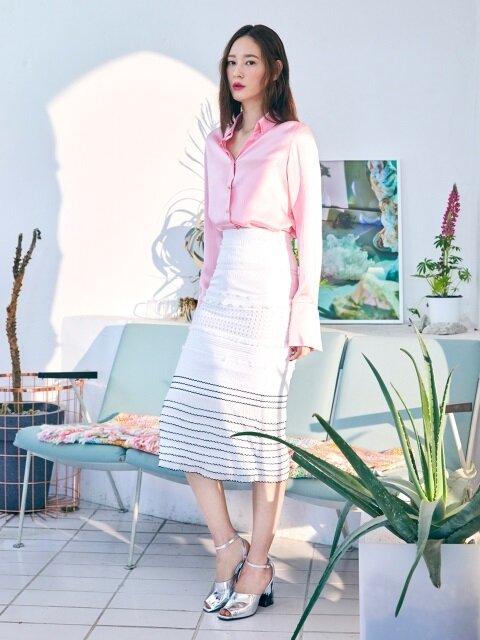 Fabric Block Skirt(WHITE)
