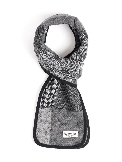 WOOL CR CHECK STOLE (grey)