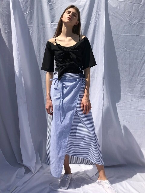 18 SS linen wrap skirt (blue stripe)