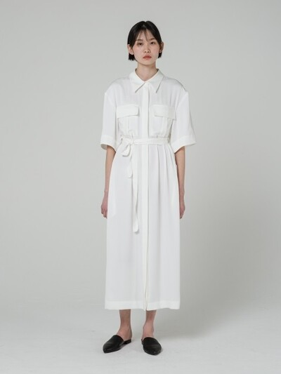 18SS BELTED SILKY SHIRT DRESS - WHITE