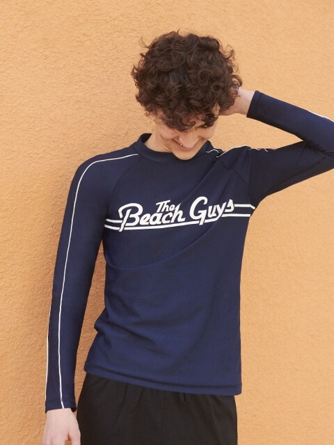 (SW-18387)THE BEACH GUYS RASHGUARD NAVY