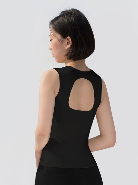 Shirring Tank Top-Black