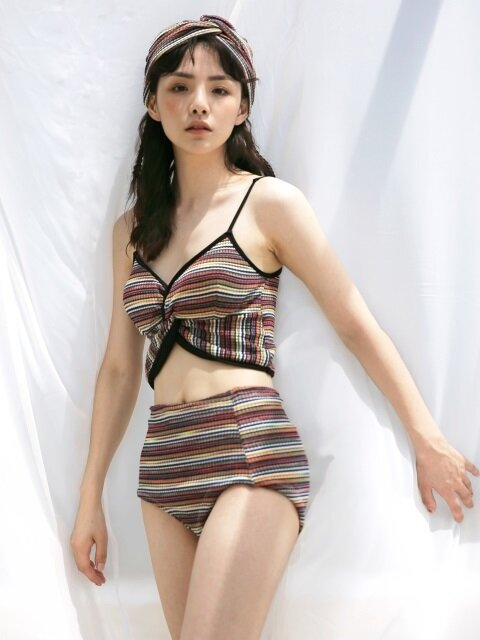 MH6 TWIST SLEEVELESS SWIMSUIT_STRIPE