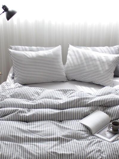 Washing gray stripe bedding set (SS/Q)