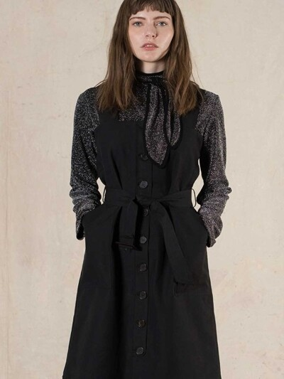 SINGLE BUTTON TRENCH DRESS (black)