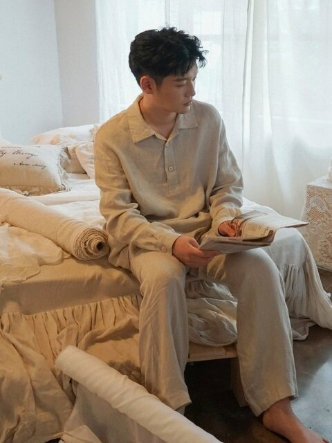 마빈 린넨 파자마 SET : Marvin linen pajama SET - natural
