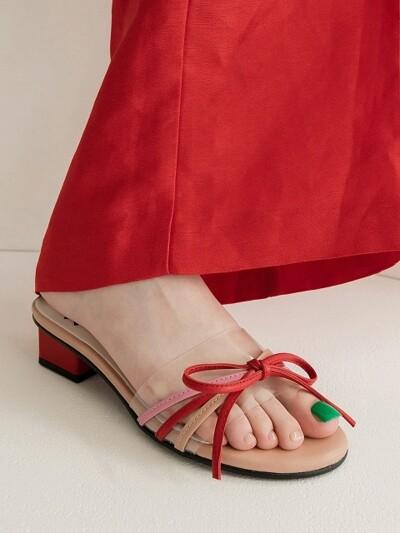Petal capture clear ribbon sandal_Pink+Red