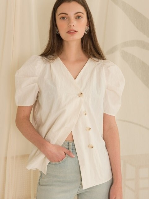 DOUBLE BUTTON PUFF BLOUSE (white)