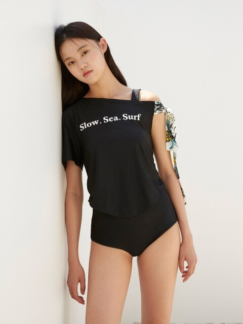 MH6 RIBBON OFFSHOULDER SWIMSUIT_BK