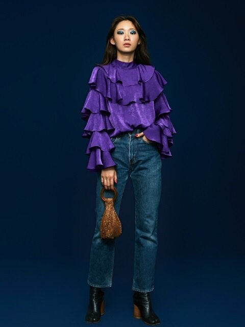 Ruffle Satin Blouse in Purple