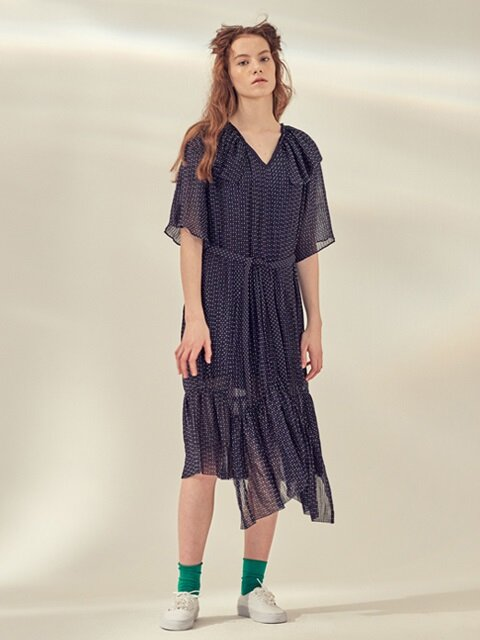 UNBALANCED PLEATS DRESS_NAVY/BLUE