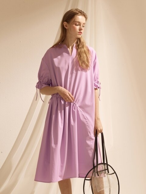 String Shirring One-piece - Lavender