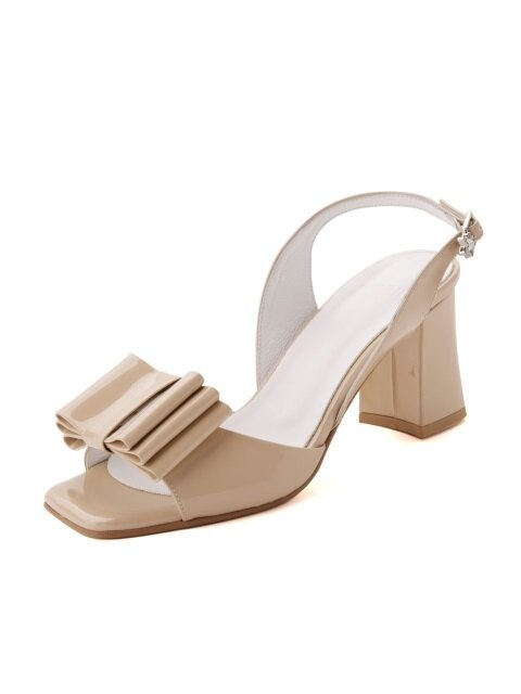 2way Toe Open Three Layer Ribbon Sling Back Beige