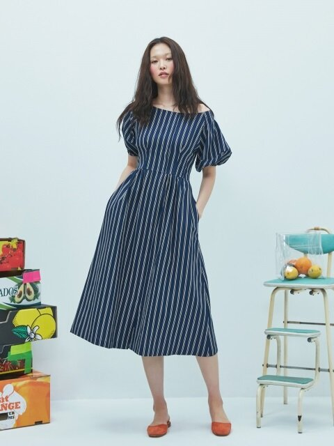 Linen Navy Stripe Dress