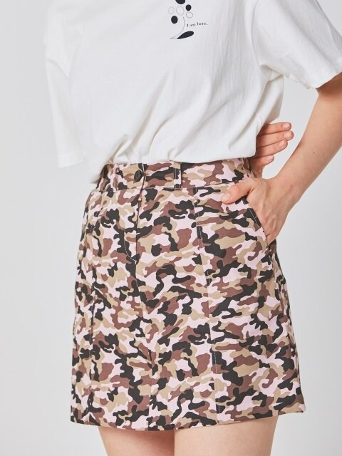 PINK CAMOUFLAGE MINI SKIRT