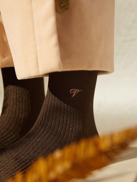 [X VIAPLAIN] silky socks, khaki brown
