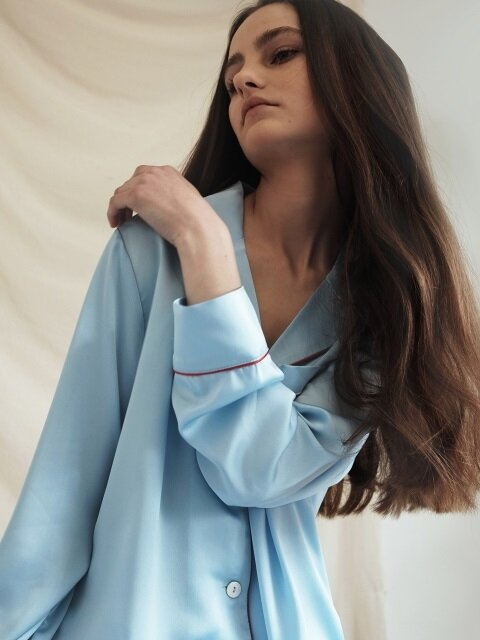 Pastel Long Sleeve PJ Shirt - Misty Sky