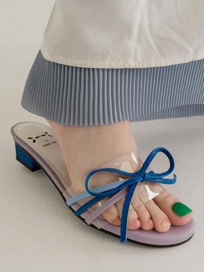 Petal capture clear ribbon sandal_Lilac+Blue