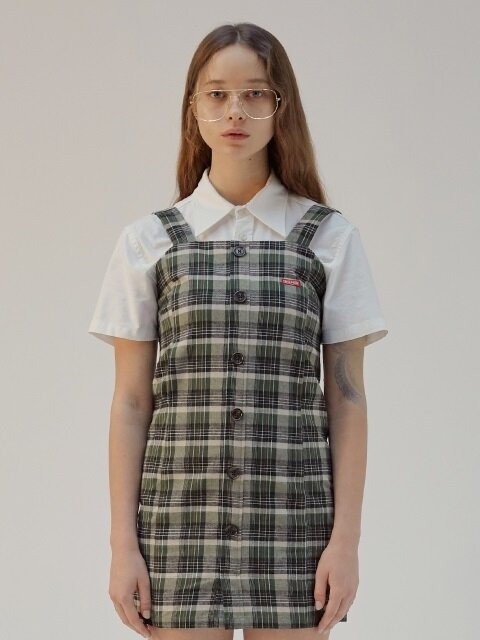 CHECK OVERALL DRESS [GREEN]