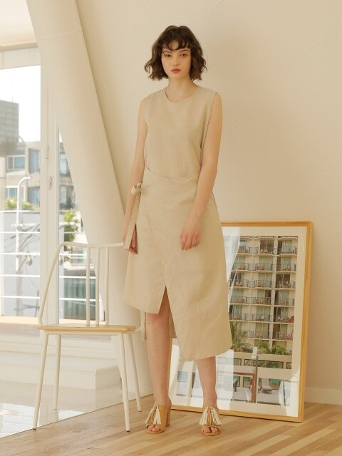 LINEN WRAP ONE-PIECE_BEIGE