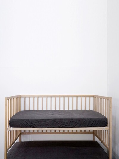 soft linen mattress cover_ dark deep grey
