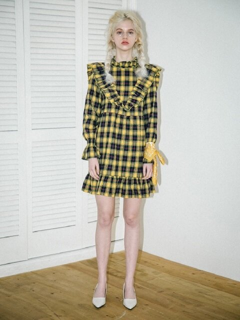 0 6 check ruffle babydoll dress yellow