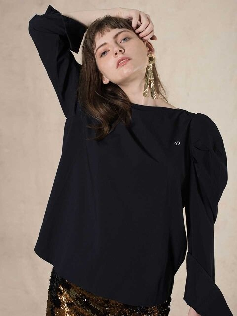 BOAT NECK PUFF BLOUSE (navy)