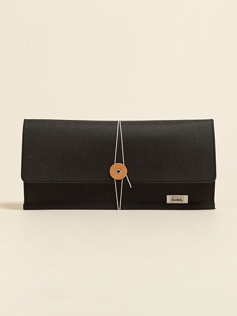 PAPER LEATHER CLUTCH BAG (black)