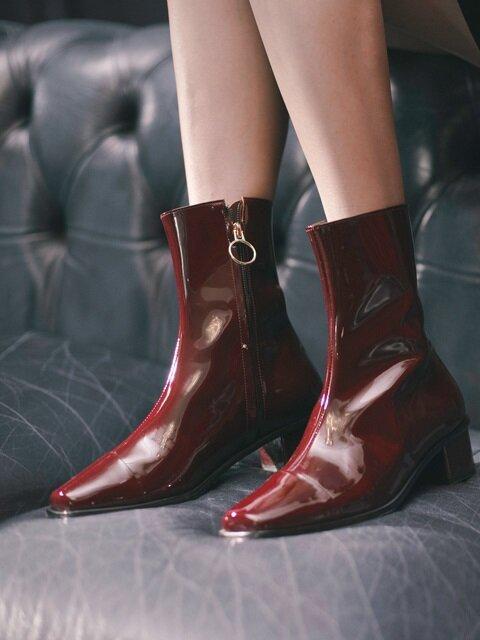 버건디 페이던트 앵글부츠 Cow Patent angle boots