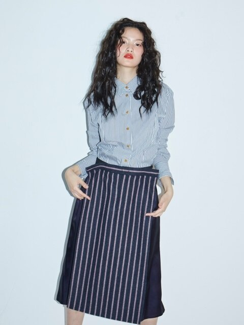 WOOL STRIPE SKIRT