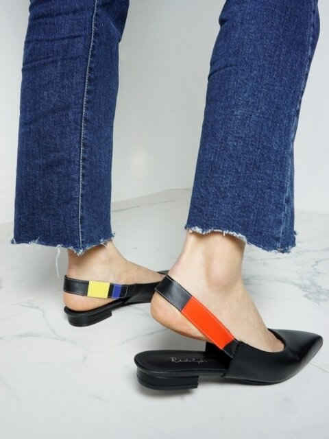 10 FLAT SHOES SLING BACK IN THREE PRIMARY COLORS AND BLACK LEATHER