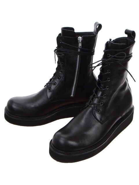 Side Zip Leather Combat Boots