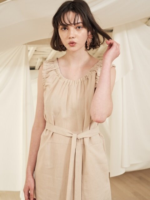18 summer_Sand Beige Sleeveless Linen Dress