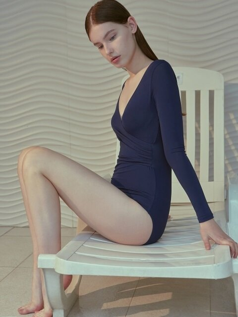 [FRONTROW x RECTO.] Long Sleeve Wrap Swimsuit