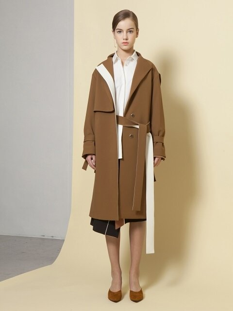 Belt passed through the side seam Trench Jacket
