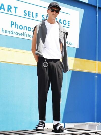 [ACC SET]Man Black Holy one tuck pants