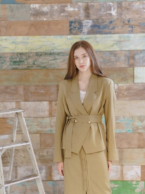 LINEN BELTED SUMMER JACKET OLIVE