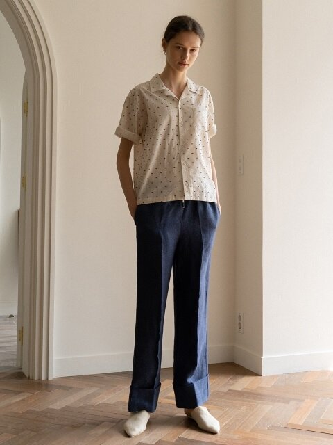 SUMMER STRING LINEN PANTS ( BLUE )