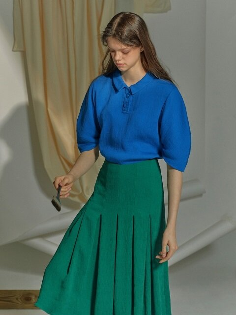 Blue Pleated Blouse