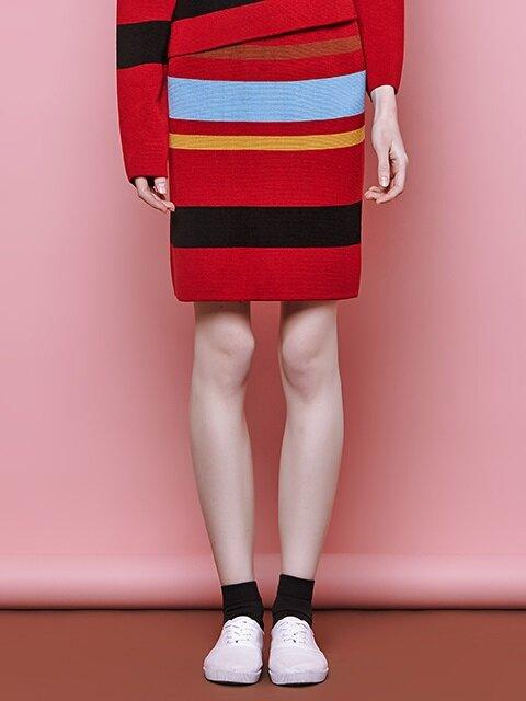 multi stripe skirt