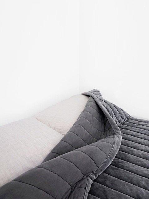 cotton velvet comforter_deep grey