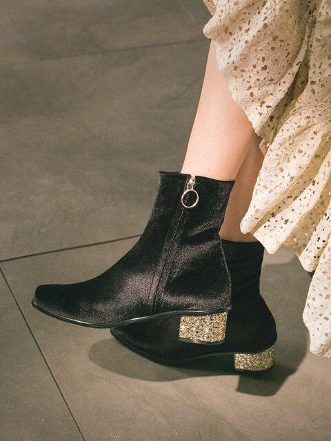 블랙벨벳 앵글부츠 Velvet angle boots Black