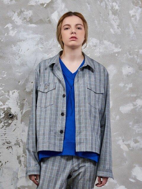 Edit Shirt Jacket(Glan Check Blue)