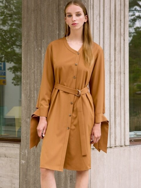 MONACO BELTED DRESS atb159w(Brown)