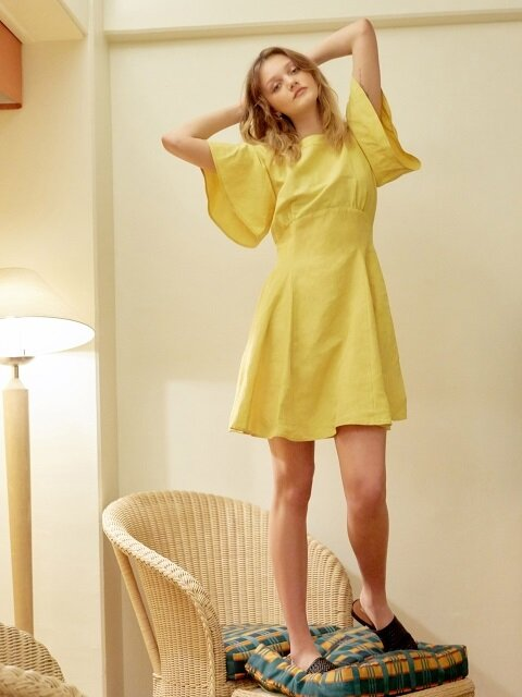 Linen Flare One Piece (Yellow)_VW8MO0270
