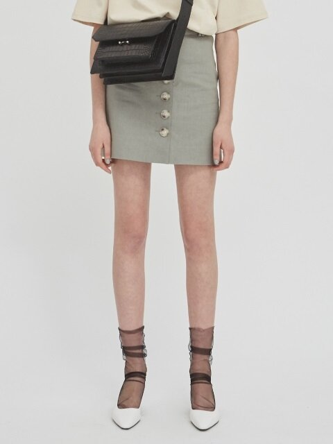 18SS BUTTON-FRONT MINI SKIRT WITH BELT - SAGE