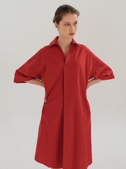 LINEN SHIRT DRESS (RED)