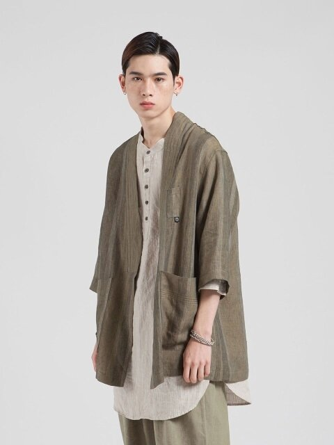 VJ-100 Jinbei Linen Jacket (Brown)